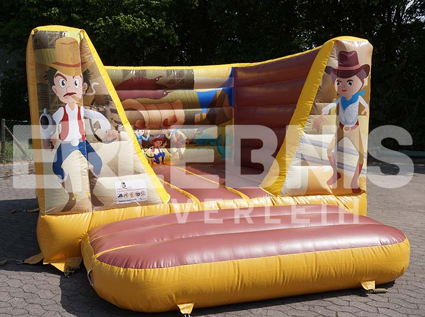 Western-Hüpfburg mit Cowboy-Aufdruck